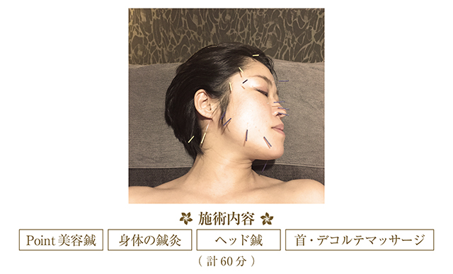 Point美容鍼、身体の鍼灸、ヘッド鍼、首・デコルテマッサージ (計60分)